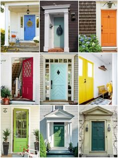 rainbow color front doors -- so. many. pretty. colors. I LOVE the middle light blue one.  That with a gray house and white trim... Dream!!
