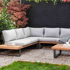 Outdoor Corner Sofa Set by The Forest & Co, the perfect gift for Explore more unique gifts in our curated marketplace. Corner Garden Seating, Built In Garden Seating, Garden Sofa Set, Corner Sofa Garden, Garden Bed, Corner Patio Ideas, Diy Garden Seating, Corner Deck, Outdoor Sofa Sets