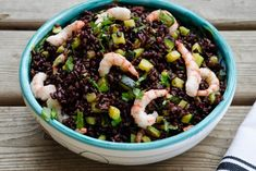 While in Italy I had black rice with shrimp and zucchini and thought it would be a nice dish to make at home. I brought a few pounds of black rice with me back to the U. Rice Recipes, Dinner Recipes, Healthy Recipes, Healthy Food, Black Rice, Health Dinner, Antipasto, Food Hacks, Italian Recipes