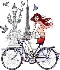 illustrazione della donna sul ponte di Alessandro III a Parigi photo
