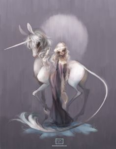 "Denae Wilkowski, ""The Last Unicorn"" fanart. Oh, come on! How pretty can something be? And girls with white hair ---> <3"