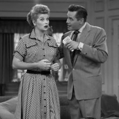 """Lucille Ball and Desi Arnaz as Lucy and Ricky Ricardo in a 1954 episode of """"I Love Lucy"""" Famous Celebrity Couples, Famous Couples, Paul Bettany, Columbia, I Love Lucy Show, Lucille Ball Desi Arnaz, Lucy And Ricky, Movie Couples, Comedy Tv"""