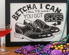 New Orleans Shoe Scam Linocut by WoahTherePickle on Etsy, £15.00