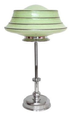 Einzigartige Art Déco Schreibtischlampe Bauhaus Chrom original Opalglas