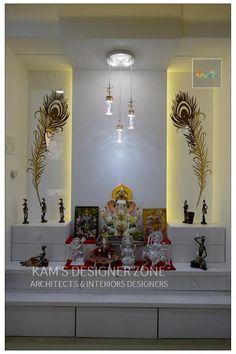 Mandir Interior Design:  Dining room by KAM'S DESIGNER ZONE Pooja Room Door Design, Room Interior Design, Luxury Interior, Hall Interior, Interior Modern, Apartment Interior, Temple Room, Temple Design For Home, Mandir Design