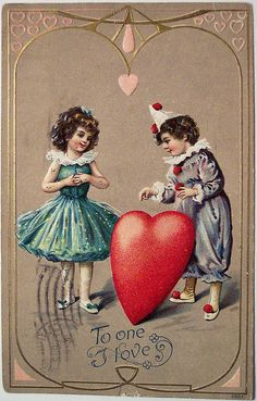 Vintage postcard - Pierrot and Pierrette