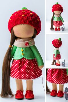 Tilda doll AT STOCK handmade red green colors Rag doll Soft doll Cloth doll Fabric doll Baby Interior doll toy by Master Diana E: https://www.etsy.com/listing/291510401/tilda-doll-at-stock-handmade-red-green