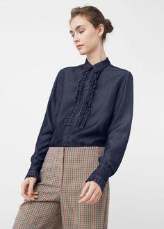 Koszula ciemny sprany denim - Koszule dla Kobieta | MANGO Polska