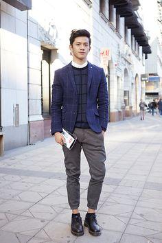 H&M Grid Sweater, H&M Grid Blazer