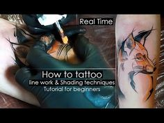 (301) How to tattoo - line work & Shading techniques - Tutorial for beginners [Real Time] Сolor fill in - YouTube