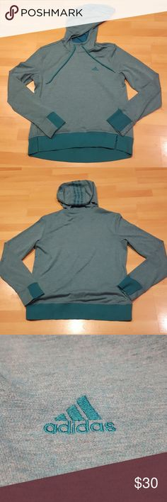 Teal Adidas Long Sleeved Hoodie This teal adidas hoodie is comfortable and light-weight. It is perfect for active wear or just to feel cozy in. It even has pockets! This hoodie is in like-new condition, and has only been worn once or twice. 🤸♀️ adidas Tops Sweatshirts & Hoodies
