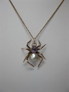 Victorian Spider Amethyst Pearl Pendant Necklace Gold Insect Animal Jewelry 1900…