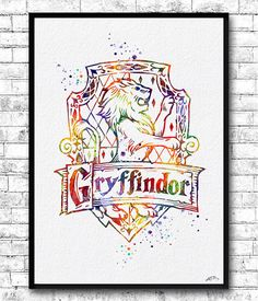 Gryffindor Crest Watercolor Print Harry Potter Fine by ArtsPrint