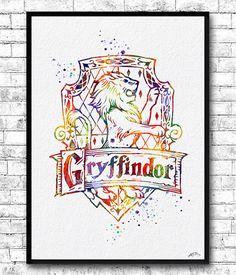 Gryffindor Crest Watercolor Print Harry Potter Fine by ArtsPrint
