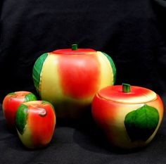 Hull Pottery Apple Set:  Cookie Jar, Grease Jar, Salt & Pepper