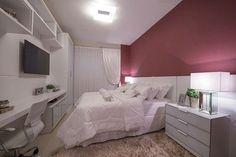 """362 curtidas, 5 comentários - Design Interiores, Decor. (@giovane_designer) no Instagram: """"Suíte filha com moveis Branco e  detalhe de cor somente no papel de parede. Projeto…"""""""