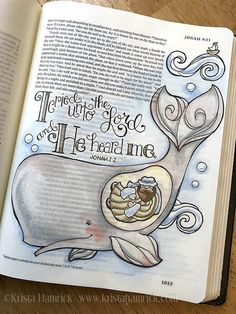 Jonah and the Whale coloring page Bible journaling tip-in Journaling Malvorlagen Jonah und der Wal / In zwei. Jonah And The Whale, Bible Drawing, Bible Doodling, Bible Prayers, Bible Scriptures, Scripture Art, Bible Art, Jonah Bible, Whale Coloring Pages