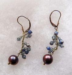 $3.00 - Silver 'Brown' Pearl Earrings (112516-24 ER) jewelry, fashion #Unknown #DropDangle