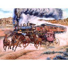 Reluctant for Progress Old West Train SunsOut 1000 Pc Jigsaw Puzzle Art Les Ray Arte Equina, Pop Art, Gravure Illustration, Train Art, Mosaic Pictures, Cowboy Art, Cowboy Horse, Le Far West, 5d Diamond Painting