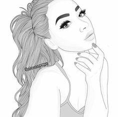 beautiful, black and white, draw, girl, illustration, outlines, tumblr, by hand