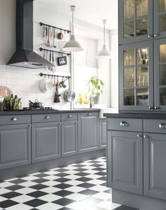 Black and White Kitchen Floor. 20 Black and White Kitchen Floor. Black and White Tile Floor Kitchen Black and White Kitchen White Kitchen Floor, Dark Grey Kitchen Cabinets, Grey Kitchens, Home Kitchens, Checkered Floor Kitchen, White Cabinets, Dark Counters, Black And Grey Kitchen, Upper Cabinets