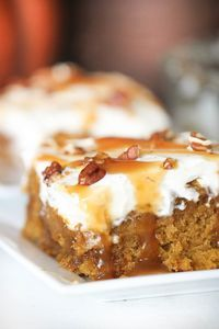 Caramel Pumpkin Poke Cake – Six Sisters' Stuff | This moist, fall spiced cake is perfect for Thanksgiving or a fall get together dessert for those who don't want pie. #recipe #thanksgivingrecipe #dessert