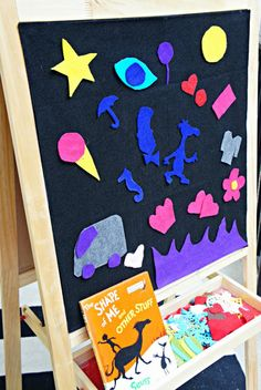 Dr. Seuss: The Shape of Me and Other Stuff Book Inspired Play. Blogger fastens the felt to her IKEA art easel with velcro tape - great idea!