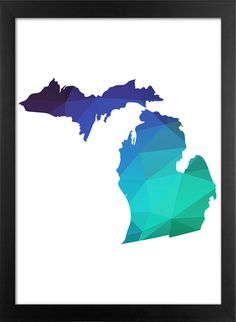 Michigan Map Printable File, Michigan State Silhouette Geometric Pattern in Green Blue Purple Colors.  **This listing is for a downloadable