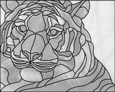 stained glass tiger face design pattern