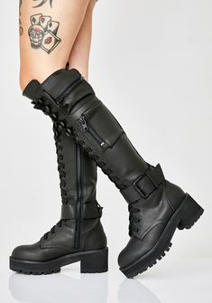 Black High Boots, Black Combat Boots, Knee High Boots, Over The Knee Boots, Cute Shoes, Me Too Shoes, Fuzzy Boots, Mode Steampunk, Lace Up Leggings