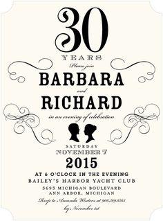 Classy Couple - Signature White 30th Anniversary Party Invitations (($))