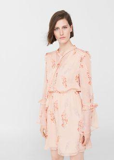 Robe à fleurs volantée -  Femme | MANGO France