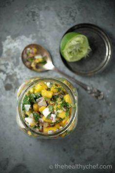 Mango Coconut Salsa : The Healthy Chef – Teresa Cutter Veggie Recipes Healthy, Healthy Dips, Healthy Chef, Healthy Soup, Raw Food Recipes, Healthy Cooking, Vegetable Recipes, Vegetarian Recipes, Healthy Choices