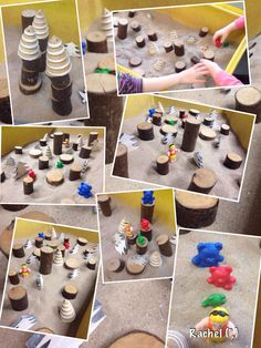 """""""Goldilock's Forest"""" in the sand tray (from Stimulating Learning with Rachel) Traditional Tales, Traditional Stories, Literacy Activities, Activities For Kids, Nursery Activities, Sand Tray, Water Tray, Goldilocks And The Three Bears, Bear Theme"""