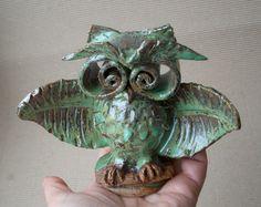 Cute little owl  nome decor  ceramic figurine  fan by DeepSilence, $30.00