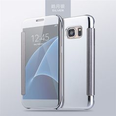 BeautyShell Case For Samsung Galaxy S7 S7 Edge Luxury Clear Smart View Window Electroplating Mirror Flip Leather Phone Cases