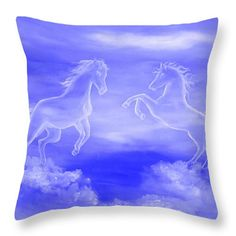 Horse Throw Pillow featuring the painting Horse Spirit Clouds by Faye Anastasopoulou Bedroom Sitting Room, Girls Bedroom, Small Living Room Design, Picture Gifts, Fancy Houses, Cool Themes, Pillow Sale, Decorating Blogs, Colorful Backgrounds