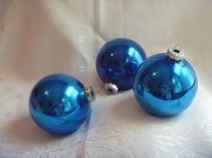 Three Bright Blue Glass Christmas Ornaments  by EauPleineVintage, $4.00