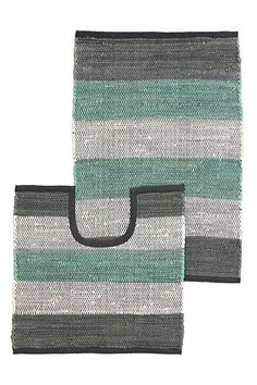 "This chindi 2 piece bath mat set has been hand-woven in lines with 100% cotton to create a stripe design and a textured tonal finish. Includes a bath mat and pedestal mat.<div class=""pdpDescContent""><BR /><b class=""pdpDesc"">Dimensions:</b><BR />L80xW50 cm<BR /><BR /><b class=""pdpDesc"">Fabric Content:</b><BR />100% Cotton<BR /><BR /><b class=""pdpDesc"">Wash Care:</b><BR>Gentle cycle cold wash</div>"