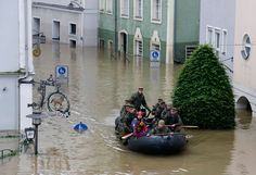 German Bundeswehr soldiers patrol the flooded areas of the Bavarian town of Passau, Germany on June (Wolfgang Rattay/Reuters) # Danube River, Central Europe, Bavaria, Far Away, Rafting, Old Town, Passau Germany, Cruise, Photo Galleries