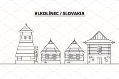 Slovakia - Vlkolinec travel famous , #Sponsored, #famous#landmark#travel#Slovakia #Ad Famous Landmarks, Vector Graphics, Geography, Graphic Illustration, Europe, Black And White, Creative, Model, Travel