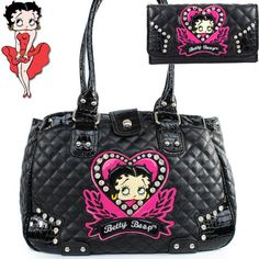 Betty Boop Fashion Unique Character And Gemstones Rhinestone Studded Quilt Tote Satchel Per Handbag Purse With Wallet In Black