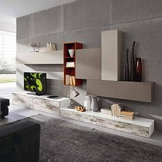 Contemporary TV unit composition Atmosphere by Siluetto, features 5 wall mounted units and 4 base units Contemporary Tv Units, Modern Tv Units, Living Room Tv, Living Room Furniture, Rustic Tv Unit, Tv Feature Wall, Rack Tv, Living Room Entertainment Center, Tv Wall Decor