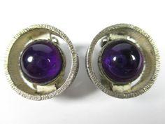 835er-Silber-Ohrclips-Amethyst-Vintage-60er-70er-silver-clip-earrings-BoHo-N4