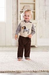 Look at this Tan Puppy Sweater Vest Set - Infant by Mud Pie Toddler Outfits, Baby Boy Outfits, Kids Outfits, Cute Outfits, Cotton Pants, Fashion Kids, Kind Mode, Little Boys, Kid Outfits