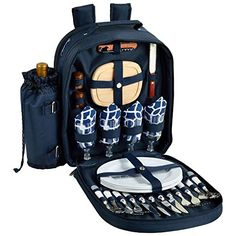 Picnic at Ascot - Deluxe Equipped 4 Person Picnic Backpack with Cooler and Insulated Wine Holder - Trellis Blue > Amazing product just a click away  : Ramekins and Souffle Dishes