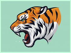 Angry Tiger, Tiger Illustration, Tiger Design, Big Cats, Vector Art, Drawings, Original Image, Motorcycle License, Invite