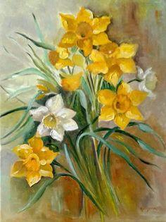 Leaf Design, Design Art, Daffodils, Floral Flowers, Watercolor Flowers, Illustration, Artist, Painting, Illustrations