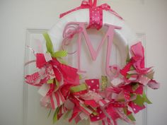 Baby Girl Ribbon Wreath in Pinks for Hospital Door Hanger, baby shower, birthday party, bridal shower