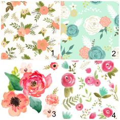 Girls Crib Bedding Peach Gold Mint Watercolor by OrangeBlossom805
